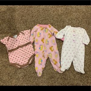 Lot of baby girl onesie jammies and onesie
